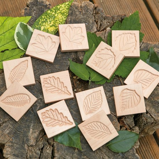 Set of 12 natural wood leaf tiles for matching games