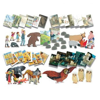 Collection of Story Talk Cards and Wooden Character Sets for four popular picture books
