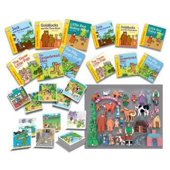 Collection of picture books, big books, wooden figures, story activity cards and sequencing cards