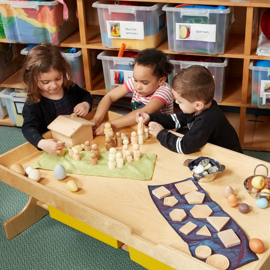 Child-height table with shelf for sensory play