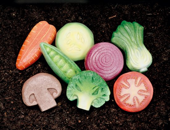Set of 8 play stone vegetables