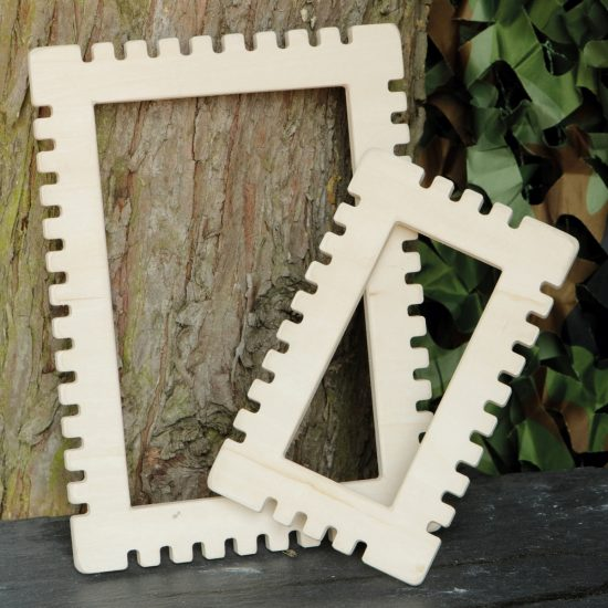 Set of 2 rectangular wooden weaving frames