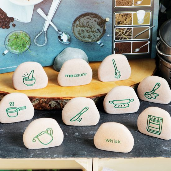 Set of 12 double-sided mud kitchen cooking stones