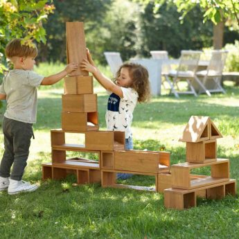 Set of 24 large wooden blocks for construction play