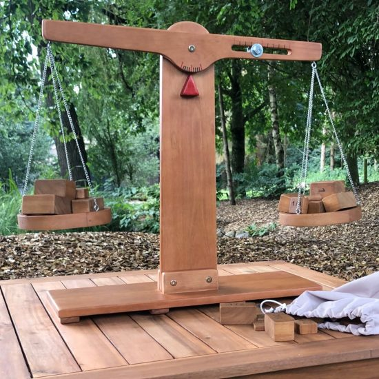 Large outdoor wooden scales for weighing and investigating