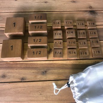 Large wooden fraction blocks for comparing and construction play