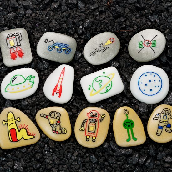 Set of 13 illustrated story stones with outer space theme