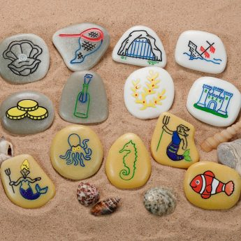 Set of 13 illustrated story stones with under the sea theme