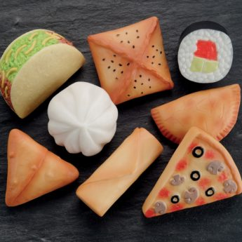 Set of 8 multicultural foods made of stone and resin
