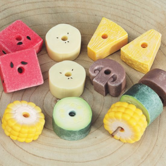 Set of 12 threadable foods (6 types) made of stone and resin