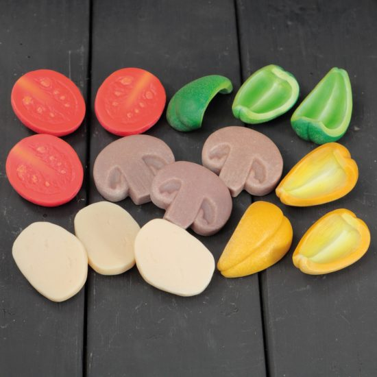 Set of 15 pizza toppings (5 types) made of stone and resin