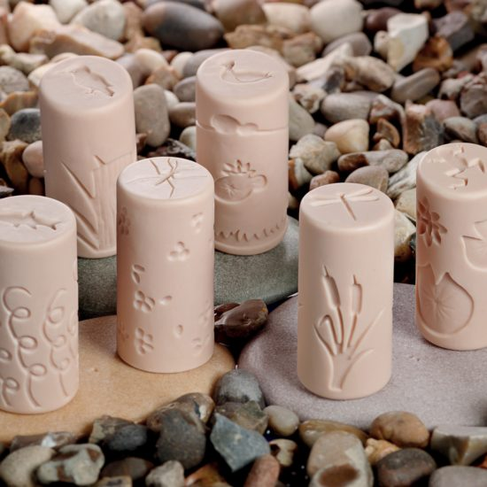 Set of 6 stone and resin rollers with pond designs